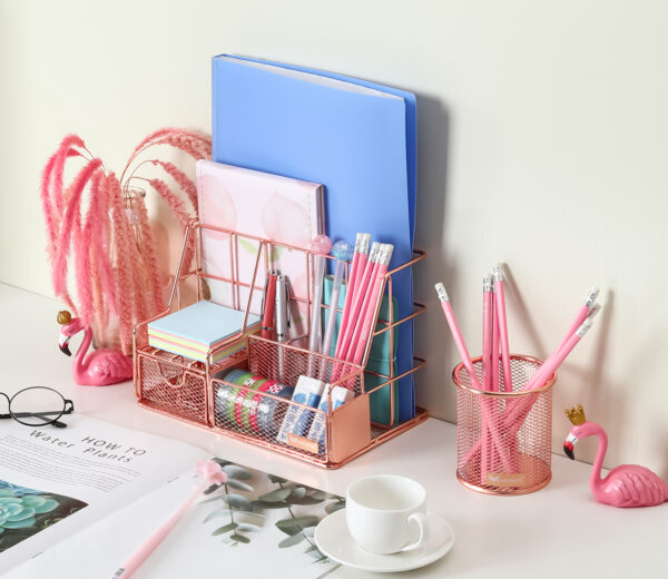 Orgowise Rose Gold Desk Organizer Set