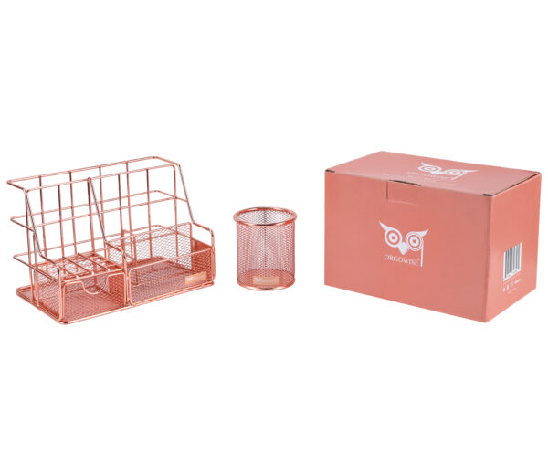 Orgowise Rose Gold Desk Organizer With Package